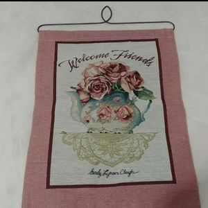 NEW Welcome Friends with rose & teapot Banner